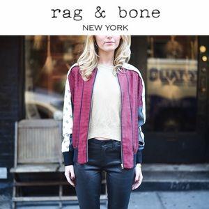 Rag & Bone Greta Silk Bomber Jacket - Size 2